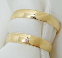 Par de aliança ouro 18k com diamante natural direto com o fabricante