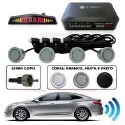 Sensor Estacionamento Ré 4 Sensores Sinal Sonoro Branco