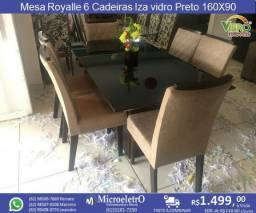 Mesa Royalle vidro Preto 160X90 6 Cadeiras Iza