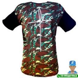 Camisa Camiseta Fe Long Line Overzise Camuflada Preta Verde Marrom Masculina  Branca b87e772558531