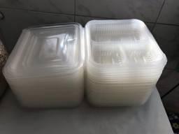 41 marmitas com divisória de plástico para pratos