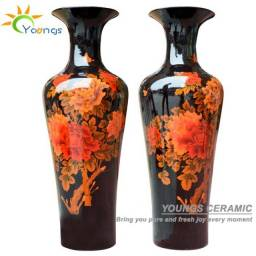 Vaso de Chão Cerâmica Floral