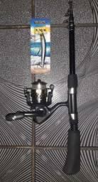 Vara de pesca Fibra de Vidro completa