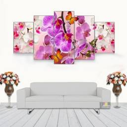 Quadro Decorativo Orquídeas C/ Borboletas 115x60 5 Peças N05