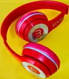 Fone De Ouvido/Headphone Ajustável/Regulável, Dobrável, Vermelho