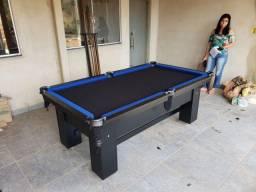 Mesa de Bilhar Preta TX Tecido preto bordas azul Modelo BYHD752869