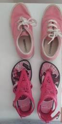 Para as meninas: tênis Converse rosa e sandália  - 2 pelo preço de 1