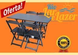 promoção de mesa 1,20x70 com 4 cadeiras em madeira  dobrável