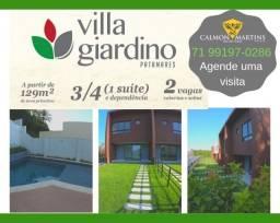 Villa Giardino, Casas com 3/4 (1 suíte), 129m² + 2 vagas