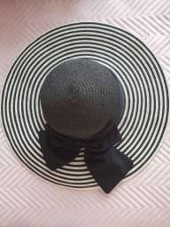 Título do anúncio: Chapéu de praia preto com laço
