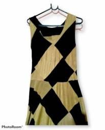 Vestido Camurça Marrom Quadricular