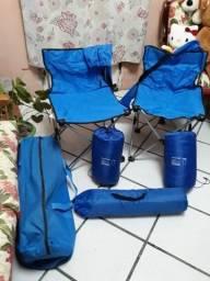 Barraca nova sem uso para 2 pessoas com duas cadeiras e 2 saco de dormir.
