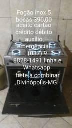 Fogão inox 5 bocas Atlas 390,00 (037) 9  *