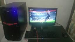 Pc gamer full amd + teclado razer gamer + monitor aoc 17 polegadas + mouse gamer