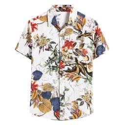 Camisa de Botão Masculina Shein - Floral em Linho - Tamanho GG