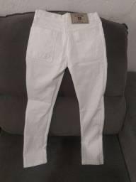 Calça jeans unissex branca tamanho 8