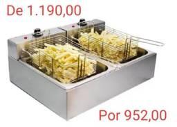 Fritador Elétrico 220v Para Salgados E Porções Com 02 Cubas Alsa