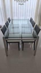 Conjunto de Mesa inox com 06 Cadeiras