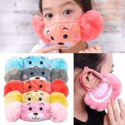 Lindos Protetores de orelha com máscara, confortável e quentinho