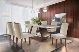 ((MT)) Mesa de Jantar Alvorada Vidro Reto c/ 6 cadeiras Café Off White -- Pronta entrega--