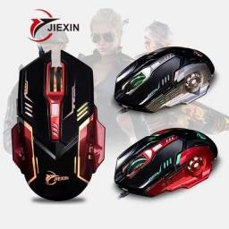 Mouse Gamer pc com Fio led jiexin T64000dpi Usb Modo silencioso