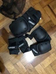 Kit de Proteção profissional Urgh para cotovelo, punho e joelho. Novo