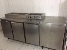 Balcão Refrigerado 3 Portas + Banho Maria