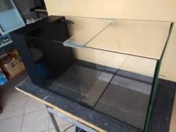 90x35x40 aquario com sump sexto vidro/sistema de filtragem embutido