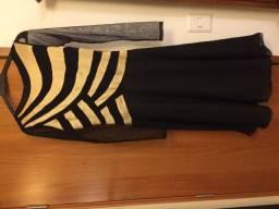 Vestido Midi preto e dourado