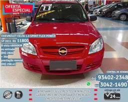 Vermelho Chevrolet celta 1.0 spirit flex power 5p 2011 R$ 11.844 48000km - 2011