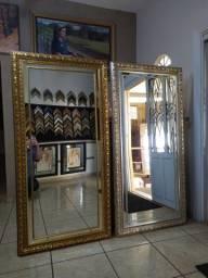 Espelho com Moldura e filete folhado a Ouro ou Prata