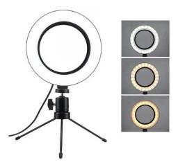 Iluminador de LED com Tripé Ring Light 6 Polegadas