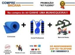 Kit Barra de flexão + Corda Profissional + Colchonete + Brinde