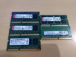 Memórias de Notebook ddr3 4Gb e 8Gb 1600 e ddr4 4Gb