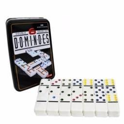 R$39,90 - Jogo De Domino Profissional Na Lata 28 Peças Coloridos.