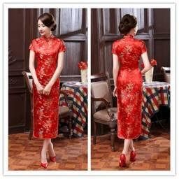 Vestido Tradicional Chinês Cheongsam / Alonga a silhueta, Postura elegante / Casamento