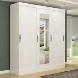Roupeiro MDF viena com espelho 3 portas de correr na caixa entrega gratis
