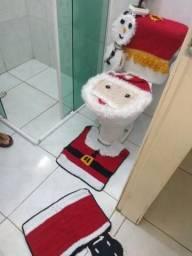 Conjunto natalino de banheiro de crochê