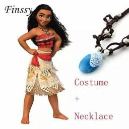Vestido fantasia infantil moana com colar entrega gratuita em toda baixada