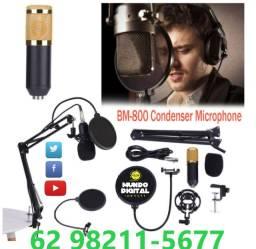 Kit completo Microfone Estúdio Profissiona Bm800 + Aranha + Braço Articu pop filter