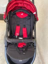 Carrinho de Bebê Litetrax Joie Chili Preto e Vermelho + Bebê Conforto + Base