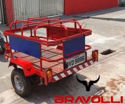 Título do anúncio: Carretinha BRAVOLLI ' MG ¿ - Reboque Gás e água ou Carga normal baú