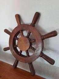 Timão em madeira de lei, roda de leme