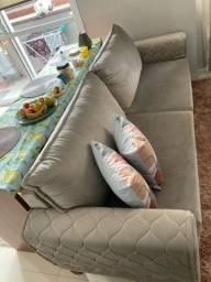Sofa 3 Lugares, camurça cinza.