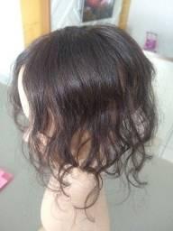 Franja de cabelo natural com imitação do couro cabeludo