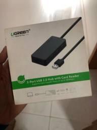 HUB 3 Portas Leitor Cartão SD MicroSD 2.0 Ugreen