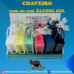 Chaveiro porta alcool gel varias cores ande protegido 12,00 com alcool