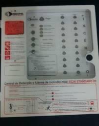 Central de alarme incendio com 06 detectores de fumaca