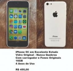 IPhone 5C Branco - Super bem Cuidado - Nunca Quebrou