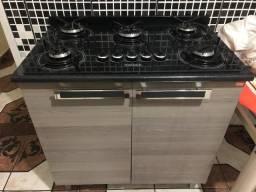 Fogão cooktop com armário